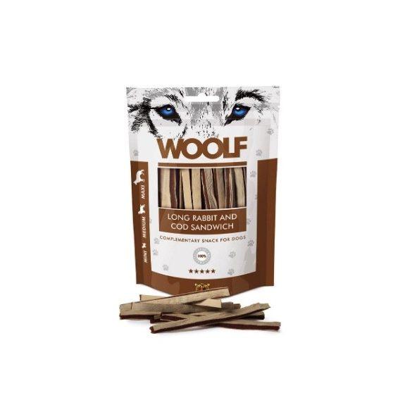 Woolf Soft Rabbit and Cod Sandwich Long puha nyúlhús jutalomfalat csíkok tőkehallal 100g
